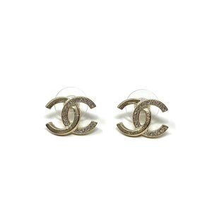 Chanel Strass CC Stud Earrings